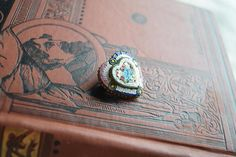 Antique Heart shaped Micro Mosaic Brooch Glass Heart Pin