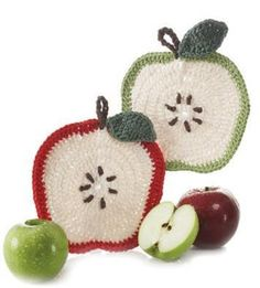 Apple crochet potholder dishcloth pattern (free pattern)