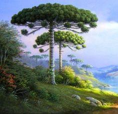 Horst Schnepper Garden Pictures, Landscape Pictures, Landscape Paintings, Bob Ross Paintings, Seascape Art, Green Landscape, Naive Art, Beautiful Landscapes, Scenery
