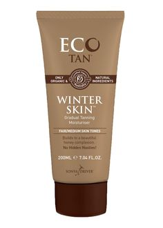 E-Cotan ECO Tan Organic Winter Skin Gradual Tanner Plus Moisturizer, 10.14 Fluid Ounce. Winter skin acts not only as a nourishing moisturizer but as a gradual tanning lotion as well. Rich in hydrating rose extract, this moisturizer soothes skin and after only a few applications, your skin will have a beautiful honey glow. Best suited for fair to medium skin tones (suitable for face + body). Made with only organic and natural ingredients.