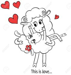 Couple in love Cartoon Two cute enamored sheep with red hearts Idea for greeting card with Happy Wedding or Valentines Day Vector doodle illustration Cute Drawings Of Love, Couple In Love, Valentines Day Drawing, Sheep Crafts, This Is Love, Watercolor Flowers, Doodles, Greeting Cards, Clip Art