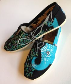 Elephants hand painted on TOMS shoes customize the by ArtfulSoles, $120.00