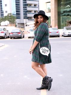 Missguided Plus size Green Tartan Skater Dress