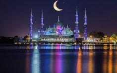 Herunterladen hintergrundbild crystal-moschee, nacht, kuala terengganu, malaysia