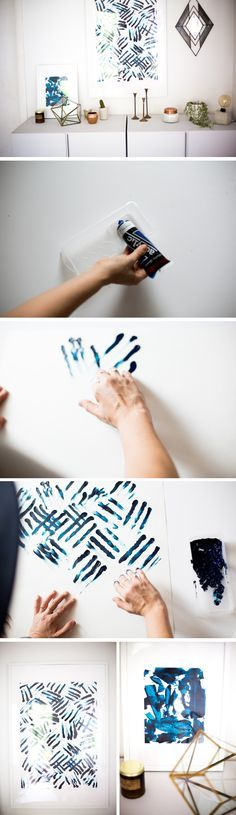 Adult Finger Painting DIY: Exotic Blue Stripes