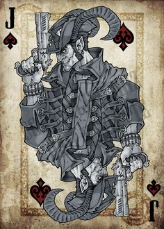 Finally i figured out a theme for the spades, gun toting demons. There's more to this guy than just a playing card, he's definitely going to show up m. Jack of Spades Cool Playing Cards, Custom Playing Cards, Cool Cards, Jack Tattoo, Tarot, Chicano, Jack Of Spades, Lupin The Third, Bicycle Cards