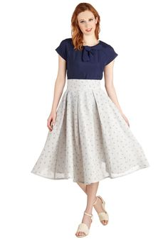Binnacle of Excellence Skirt. Youve always been the captain of your own style, and your journey through a vast sea of fashion has lead you to this charming skirt, printed with red and blue anchors. #blue #modcloth