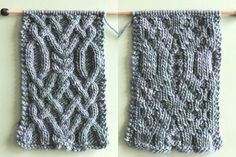 Right and Wrong Sides of the Learn How to Knit this Fancy Celtic Cable Pattern by Studio Knit with FREE written and chart pattern
