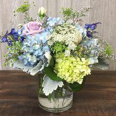Lilac Roses, Blue Hydrangea, Purple Wedding Arrangements, Dusty Miller, Photography Portfolio, Pastels, Floral Design, Floral Wreath, Wreaths