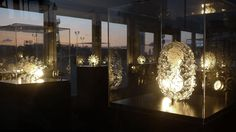 Collection at dusk in the Hague Luke Jerram glass sculptures of viruses