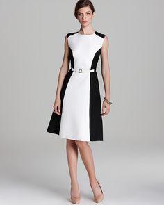 Anne Klein Color Block Belted Dress - Sleeveless | Bloomingdale's