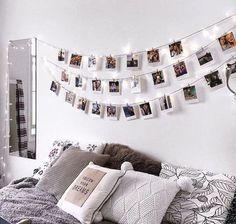 Des photos sur une guirlande de lumi�res font des jolis d�corations int�rieures pour pas cher #d�coration #maison #d�copascher #r�cup�ration