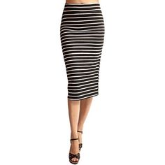 Black and white stripe high waisted pencil skirt Black and white skirt with stripes and midi skirt length and shape like a pencil skirt or scuba skirt. High-waisted skirt that is midi-skirt length with a pencil skirt fit. Brand new, never worn, perfect condition. Reposh because it doesn't fit. Size small but will fit medium perfectly as well because it is SUPER stretchy. ‼️OPEN TO OFFERS‼️ @danystormborn Skirts Pencil