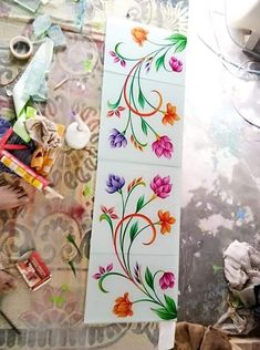 Glass Etching Designs, Glass Painting Designs, Stained Glass Designs, Stained Glass Patterns, Stained Glass Art, Paint Designs, Glass Partition Designs, Wall Partition Design, Window Glass Design