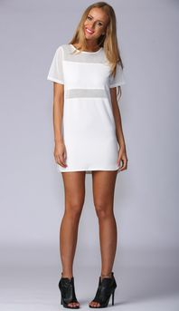 DON'T MESH WITH US SHIFT DRESS IN WHITE
