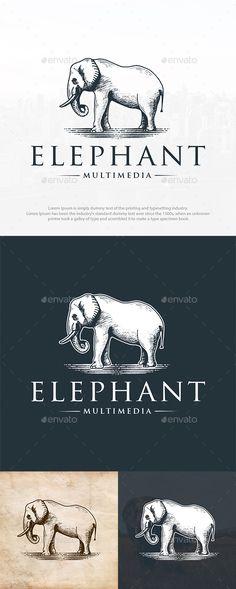 9b11975f5 Wild Elephant Logo Template PSD