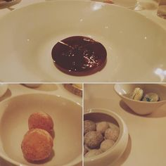 Slightly blurry photos but I was tired and so full by #dessert. Top was a #chocolate mousse bottom left were the most insanely delicious warm #glutenfree #donuts. Bottom right were chocolate covered macadamia nuts and ginger lime macarons. C'est magnifique!  #TheFrenchLaundry #glutenfree #nom #yummy #eeeeeats #food #foodie #fancy #foodporn #foodgasm #foodpics #glutenfreelife #celiac #sweet #sugar by misterbelly
