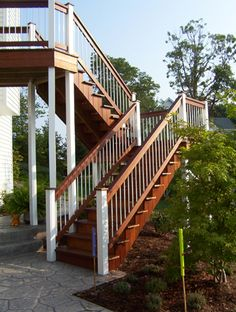 Kurt Hinds Building & Renovation builds custom decks in West Michigan from Lansing to the Lakeshore. We use materials such as Azek (vinyl), composites, and exotic hardwoods, like this gorgeous example of an Ipe staircase.