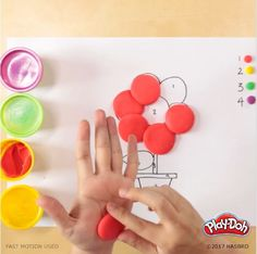 Here's a Play-Doh game that's a take on the classic color-by-numbers. Find or create a simple coloring book image like this one, then grab some cans of compound and label them to correspond to numbers on the image. It'll help them work on their number recognition and fine motor skills all in one fun activity! Preschool Crafts, Toddler Activities, Preschool Activities, Fun Crafts, Diy And Crafts, Crafts For Kids, Arts And Crafts, Play Doh, Craft Projects