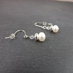 White Button Pearl with Swarovski® Elements Crystal and Sterling Silver Earrings £16.00