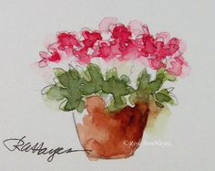 This is an original miniature watercolor painting of a terra cotta flower pot of pink flowers, painted in a very loose fluid style. The size is 1 ½ x 2 inches, and it is matted in a white bevel-cut 4x5 mat which will fit easily into any standard 4x5 frame. It could also be rematted to fit into a larger frame. The painting and mat will be wrapped in clear mylar with an acid-free foamboard backing piece, so it will be ready to pop into any ready-made frame. It will be packaged in such a way…