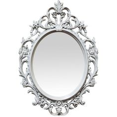 Amazon.com: Baroque Mirror by NUWGO Small 15.5 Plastic Oval Ornate... ($24) ❤ liked on Polyvore featuring home, home decor, mirrors, gray home decor, grey home decor, plastic mirror, ornate mirror and oval mirror