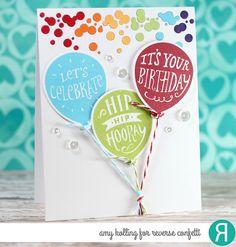 Card by Amy Kolling. Reverse Confetti stamp set: Boxes 'n Balloons. Confetti Cuts: Boxes 'n Balloons and Falling Confetti. Birthday card. Congratulations card. Graduation card.