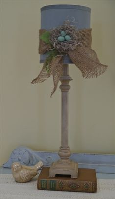 Chateau Chic: A Little Bit of Whimsy ~ This would be great on brown lamp in my bedroom... use small flowers instead of nest.
