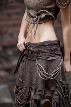 boho skirt, rips and belts