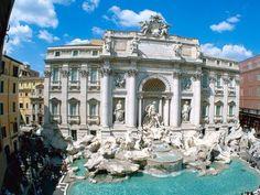 Trevi fountain Rome-Italy - architecture, fountain, houses, Italy, monument, Rome, Trevi Fountain