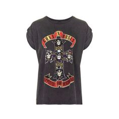 Guns and Roses Tour Tee by and Finally (130 RON) ❤ liked on Polyvore featuring tops, t-shirts, shirts, tees, women, black, rosette top, logo tees, rose shirt and logo t shirts