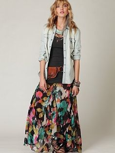 FP ONE Desert Florals Maxi Skirt at Free People Clothing Boutique - StyleSays