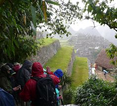 View from the guard house on the north side of Machu Picchu looking south in the rain.