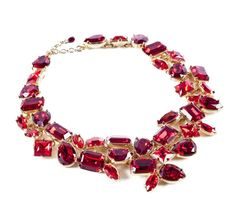 Red couture necklace in two shades of Swarovski crystal and gold plated brass. Handcrafted at the Alexandre Vauthier atelier in Paris, France. Red Jewelry, Holiday Jewelry, Jewelry Box, Jewelery, Jewelry Accessories, Jewelry Necklaces, Red Necklace, Crystal Necklace, Crystal Jewelry