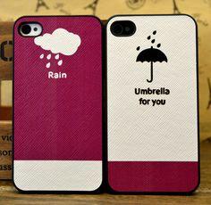 Cute Rain-Umbrella for You Couple iPhone Cases