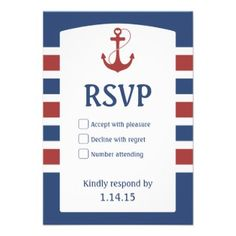 Shop Red Heart Anchor Nautical Wedding RSVP created by soapstreet. Personalize it with photos & text or purchase as is! Nautical Wedding Stationery, Navy Wedding Invitations, Rehearsal Dinner Invitations, Wedding Rsvp, Rehearsal Dinners, Baby Shower Invitations, Custom Invitations, Invitations Online, Red Wedding