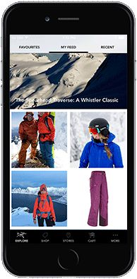 Arc'teryx App on an iPhone