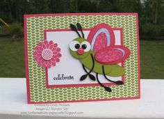 Bug card using oval & round punches (my comment: i bet this could be done with cricut.......the bug i mean...)