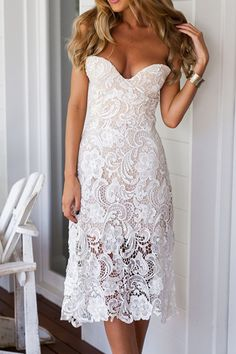 Strapless Solid Color Lace Sleeveless Dress WHITE: Lace Dresses | ZAFUL