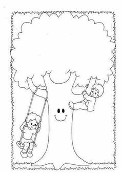 Basic Drawing For Kids, Earth Day Coloring Pages, Tree Day, Earth Day Crafts, Cross Stitch For Kids, Alphabet For Kids, Toddler Learning Activities, Kindergarten Art, Tree Patterns