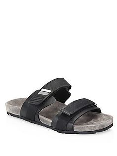 8497e64fceda8b Prada Double-Strap Rubber Grip-Tape Sandals Men Sandals