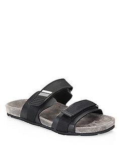 Prada Double-Strap Rubber Grip-Tape Sandals