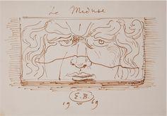 Eugene Berman,   Le Meduse,  1969, ink, paper  -  UMFA: Utah Museum of Fine Arts