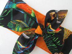 Tropical fish print headband Hawaiian ROCKABILLY by Ritaknitsall