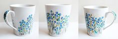 Forget me not; hand-painted mug; 350ml / Kristi Palm Art