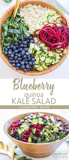 Salad with Quinoa and Blueberries / This summery superfood salad has tons o. Kale Salad with Quinoa and Blueberries / This summery superfood salad has tons o. Kale Quinoa Salad, Superfood Salad, Superfood Recipes, Healthy Salad Recipes, Whole Food Recipes, Vegetarian Recipes, Kale Salads, Quinoa Rice, Whole Foods