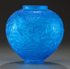 Art Glass:Lalique, R. LALIQUE ELECTRIC BLUE GLASS GUI VASE. Circa 1920, Molded:R. LALIQUE, Engraved: France. 6-1/2 inches high... Image #1