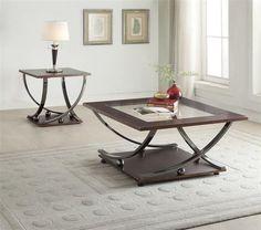 Isiah Black Nickel Metal Glass Wood Square Coffee Table Set