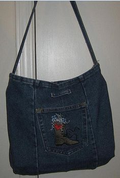 embroidered.recycled jean bag