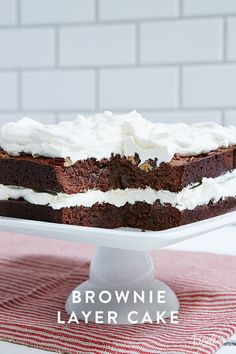 This Brownie Layer Cake is a slice of heaven. Bake two pans of fudgy, decadent brownies (topped with chocolate chips and chopped nuts) and sandwich them together with whipped cream. The finished cake looks impressive--and tastes even better. A delicious recipe worth trying any night of the week.